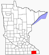 Location of Fillmore County Minnesota