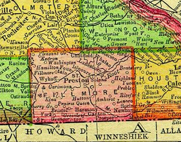 1895 Map of Fillmore County