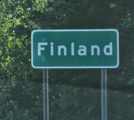 Finland Minnesota highway sign