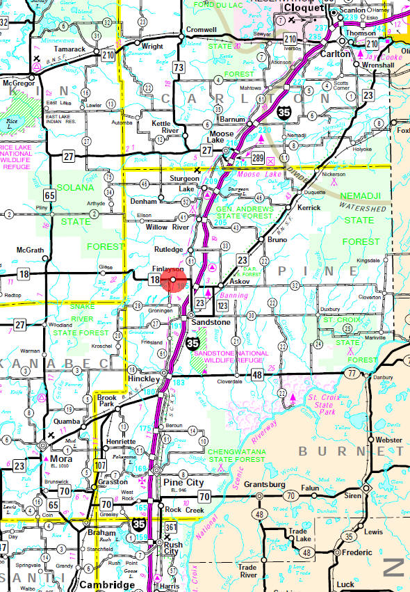Minnesota State Highway Map of the Finlayson Minnesota area
