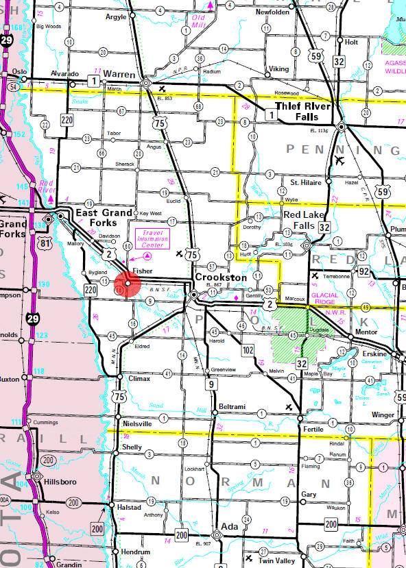 Minnesota State Highway Map of the Fisher Minnesota area