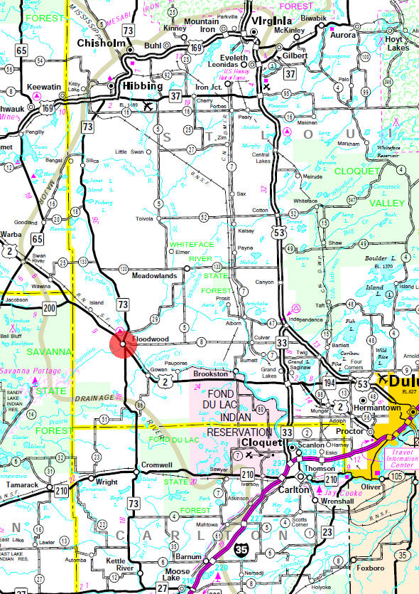 Minnesota State Highway Map of the Floodwood Minnesota area