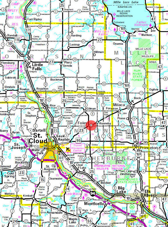 Minnesota State Highway Map of the Foley Minnesota area