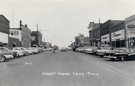 Street scene, Foley Minnesota, late 1950's