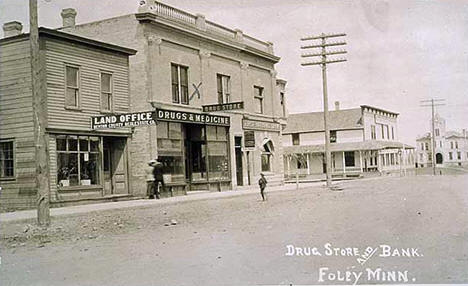 Drug Store and Bank, Foley Minnesota, 1912