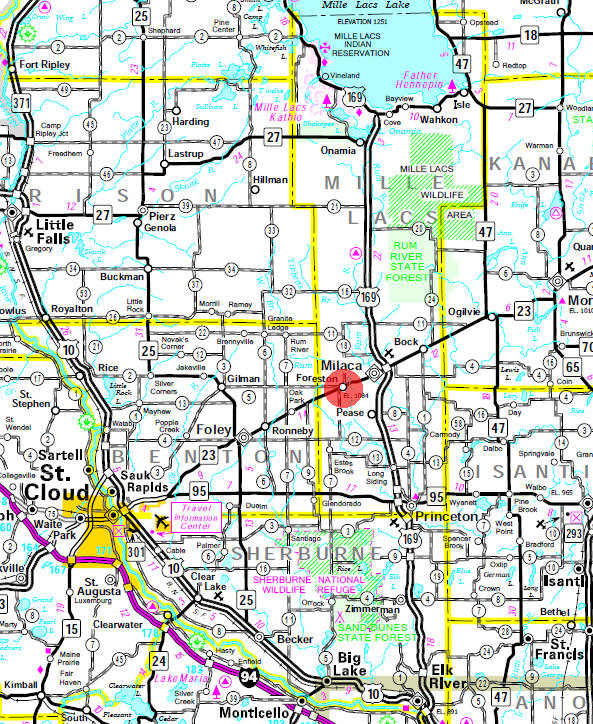 Minnesota State Highway Map of the Foreston Minnesota area
