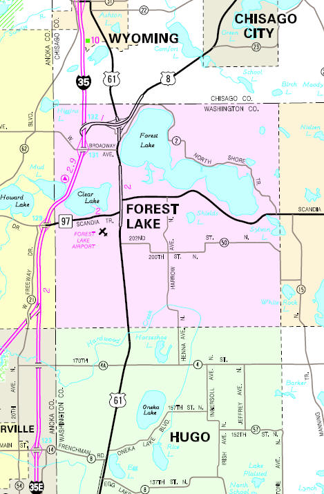 Minnesota State Highway Map of the Forest Lake Minnesota area