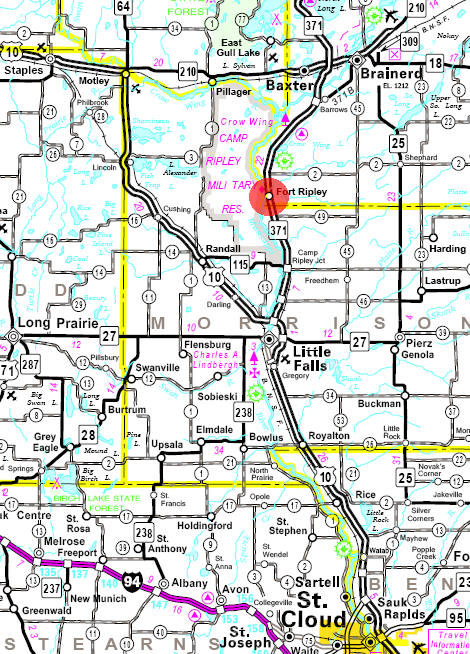 Minnesota State Highway Map of the Fort Ripley Minnesota area