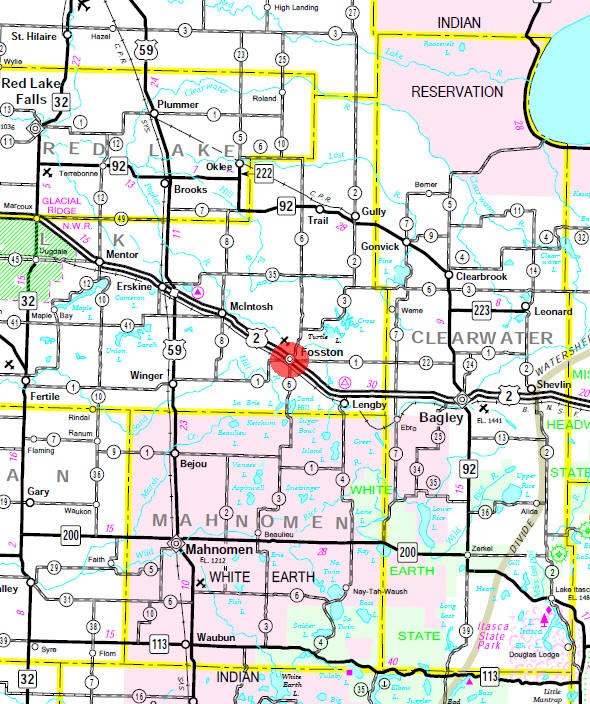 Minnesota State Highway Map of the Fosston Minnesota area