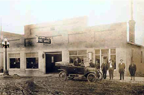 J. E. Campbell and Son Ford Garage, Fosston Minnesota, 1915