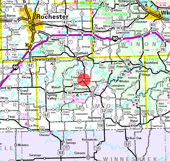 Minnesota State Highway Map of the Fountain Minnesota area