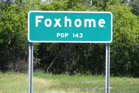 Foxhome Minnesota Population Sign
