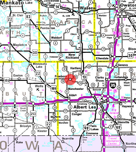 Minnesota State Highway Map of the Freeborn Minnesota area