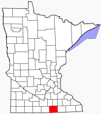 Location of Freeborn County Minnesota