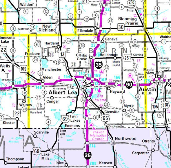 Freeborn county minnesota guide minnesota state highway map of the freeborn county minnesota area publicscrutiny Images