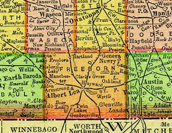 1895 Map of Freeborn County Minnesota