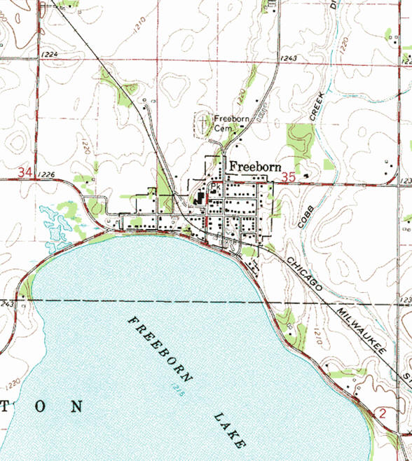 Topographic map of the Freeborn Minnesota area