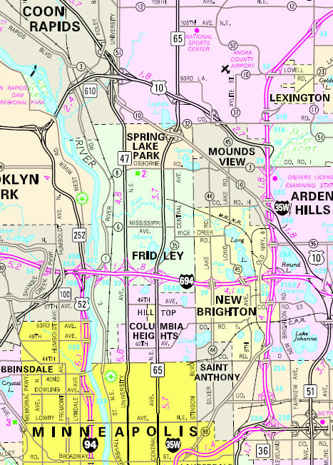 Minnesota State Highway Map of the Fridley Minnesota area