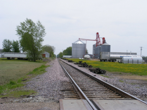 Railroad tracks and grain elevators, Frost Minnesota, 2014