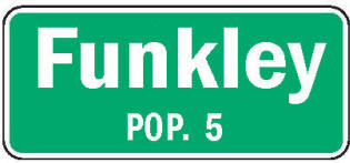 Funkley Minnesota population sign