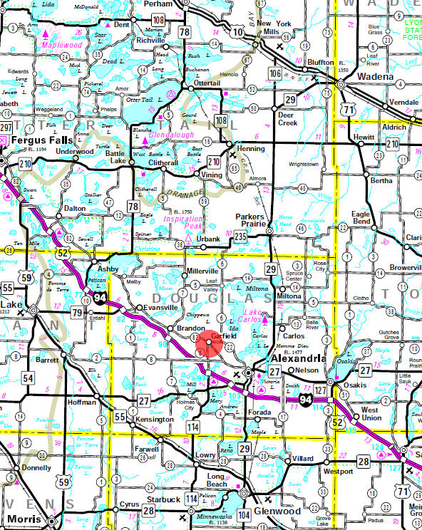 Minnesota State Highway Map of the Garfield Minnesota area