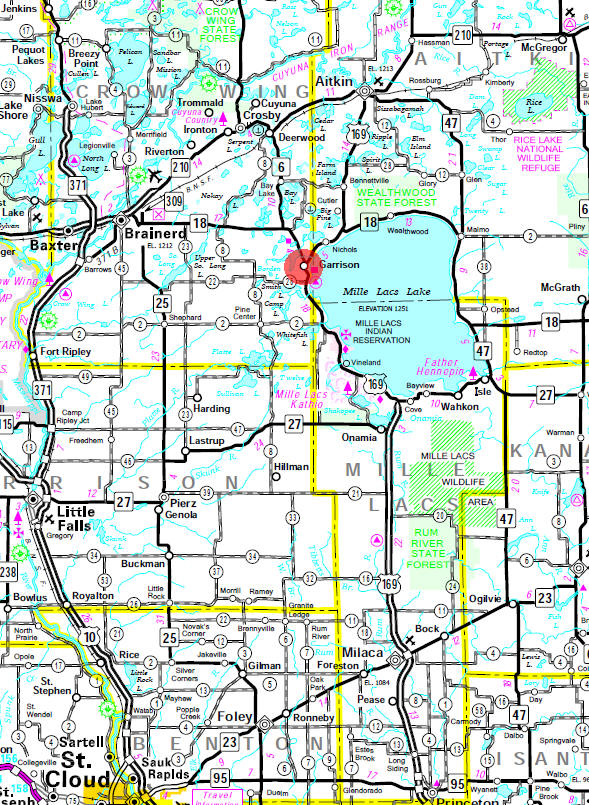 Minnesota State Highway Map of the Garrison Minnesota area