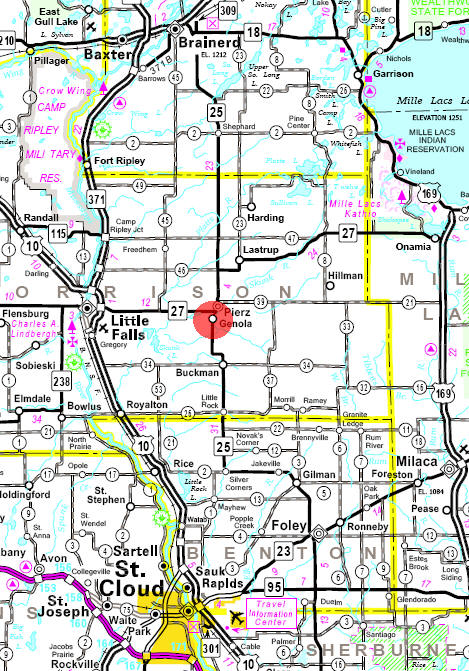 Minnesota State Highway Map of the Genola Minnesota area