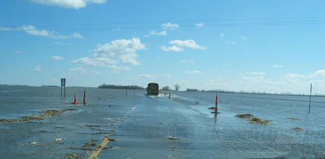 Flooding over Highway 75 near Georgetown Minnesota, April 2006