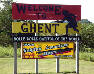Ghent Minnesota welcome sign