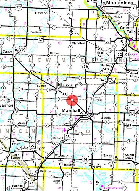 Minnesota State Highway Map of the Ghent Minnesota area