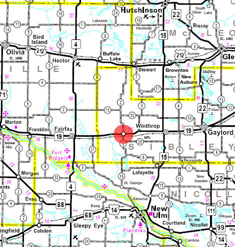 Minnesota State Highway Map of the Gibbon Minnesota area