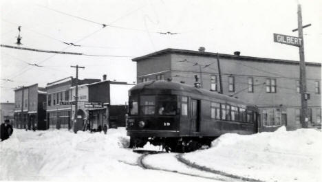 Inter-urban street car at Broadway and Wisconsin, Gilbert Minnesota, 1914