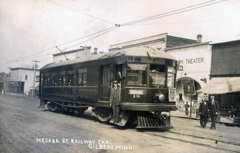 Mesaba Street Railway Car, Gilbert Minnesota, 1913
