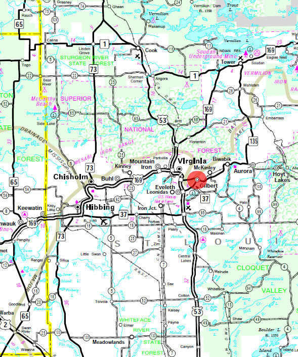 Minnesota State Highway Map of the Gilbert Minnesota area