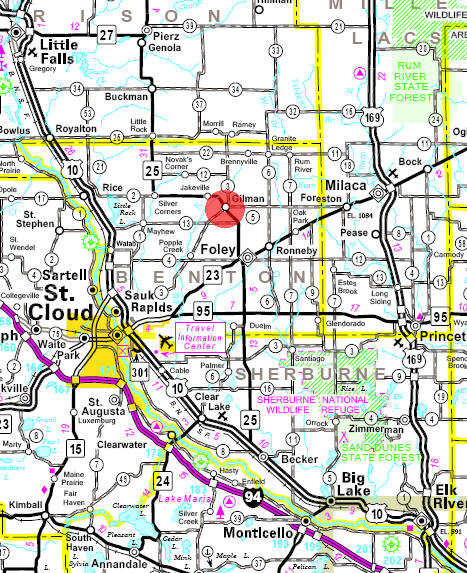 Minnesota State Highway Map of the Gilman Minnesota area