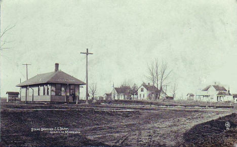 Illinois Central Railroad Depot, Glenville Minnesota, 1909
