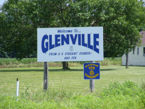 Welcome sign, Glenville Minnesota, 2010