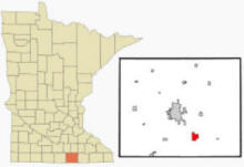 Location of Glenville, Minnesota