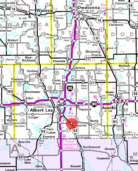 Minnesota State Highway Map of the Glenville Minnesota area