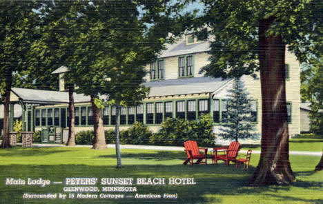 Main Lodge at Peters Sunset Beach Hotel, Glenwood Minnesota, 1942