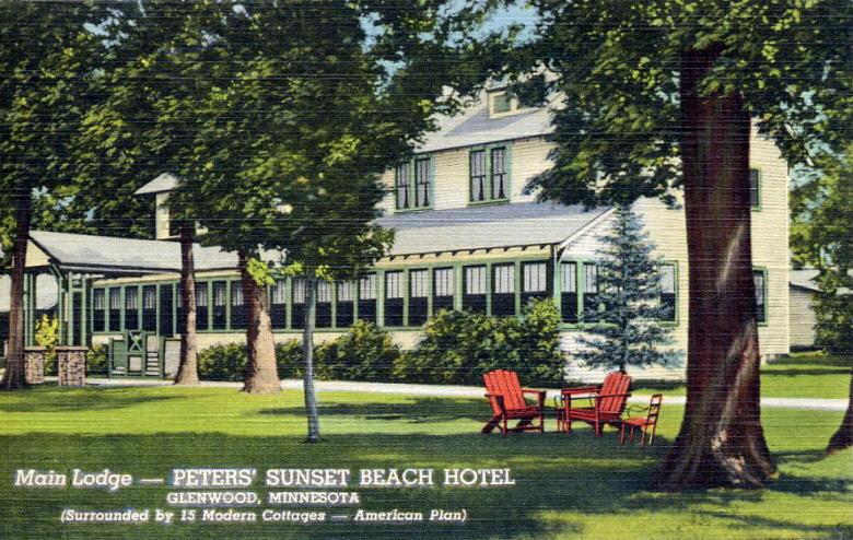 Main Lodge At Peters Sunset Beach Hotel Glenwood Minnesota 1942