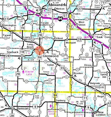 Minnesota State Highway Map of the Glenwood Minnesota area