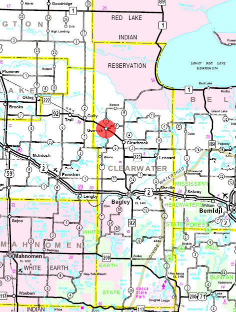 Minnesota State Highway Map of the Gonvick Minnesota area