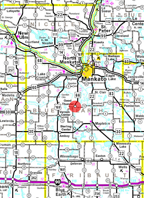 Minnesota State Highway Map of the Good Thunder Minnesota area