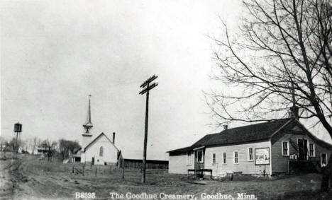 Goodhue Creamery with St. Luke Lutheran Church in background, Goodhue Minnesota, 1914