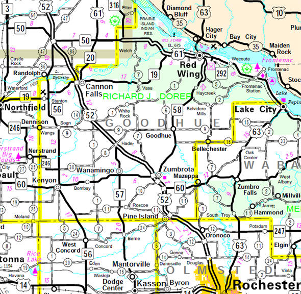 Minnesota State Highway Map of the Goodhue County Minnesota area