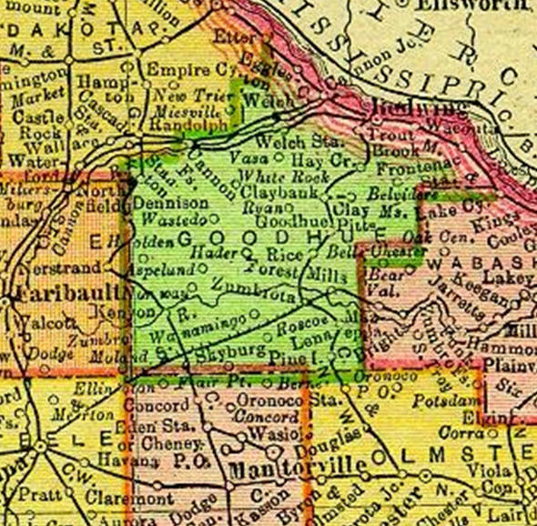 1895 Map of the Goodhue County Minnesota area