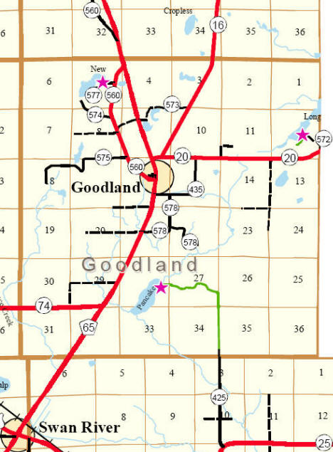 Highway Map of Goodland Township Minnesota