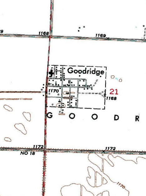 Topographic Map of the Goodridge MN area