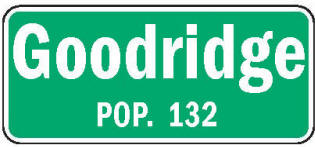 Goodridge Minnesota population sign
